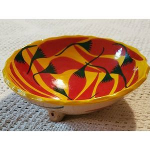Glazed Red Yellow Ceramic Salsa Bowl w/ Peppers